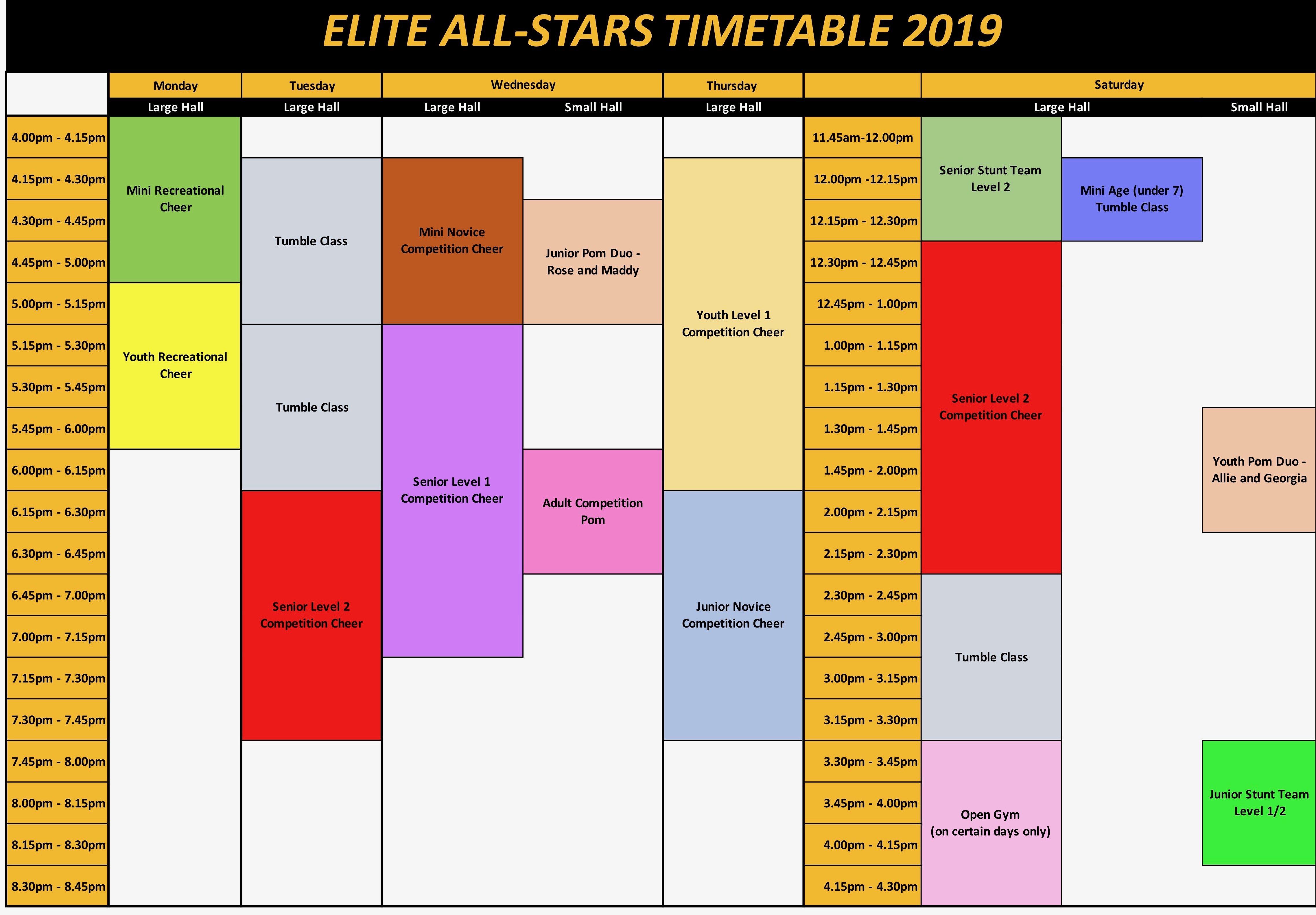 Elite 2019 Timetable